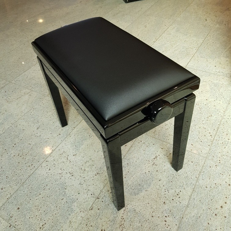 Hidrau BG1M pianobank zwart hoogglans met zwarte skai zitting