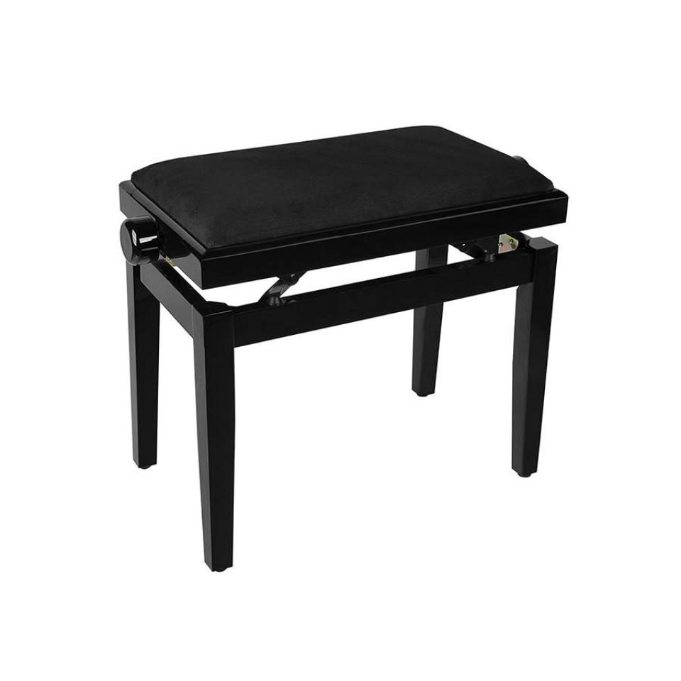 Boston pianobank zwart hoogglans met zwarte velours zitting